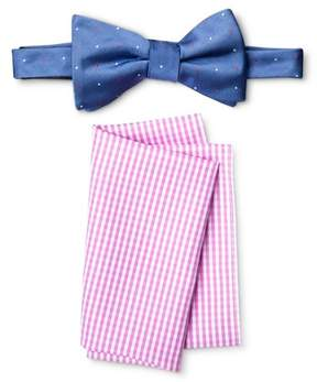 Merona Men's Bow Tie And Pocket Square Set Blue/Pink
