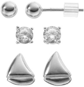 Ball Cubic Zirconia Sterling Silver Sailboat & Stud Earring Set
