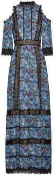 Alice + Olivia Alice Olivia - Gatz Lace-trimmed Satin-crepe Maxi Dress - Blue