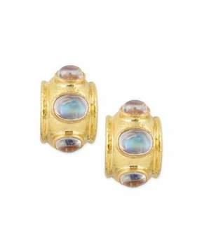 Elizabeth Locke Moonstone Cabochon Clip/Post Earrings