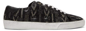 Saint Laurent Black and White Tweed SL/06 Court Classic Sneakers