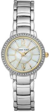 Anne Klein Silvertone Crystal-Accented Mother-of-Pearl Dial Bracelet Watch with Goldtone Accents