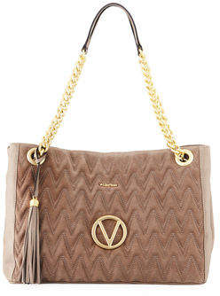 Mario Valentino Valentino By Verra Large Suede/Leather Quilted Tote Bag