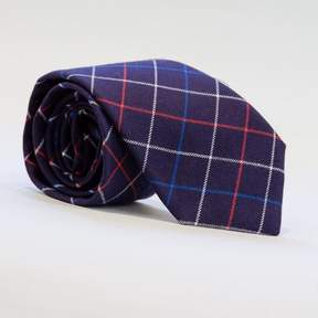 Blade + Blue Navy, White & Red Plaid Brushed Cotton Tie