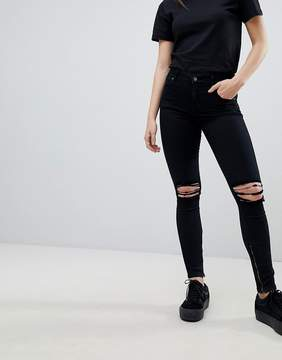 Dr. Denim Mid Rise Ripped Ankle Grazer Jeans