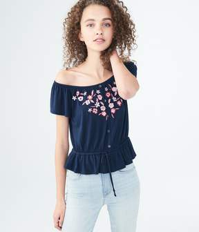 Aeropostale Embroidered Off-The-Shoulder Peasant Top