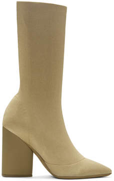 Yeezy Beige Knit Ankle Boots