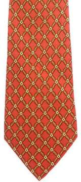 Hermes Lattice Print Silk Tie