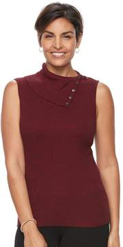Croft & Barrow Women's Ribbed Sleeveless Turtleneck Top