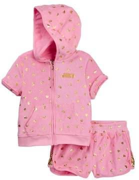 Juicy Couture Pink Foil Print Heart Terry Hoodie & Short Set (Big Girls)