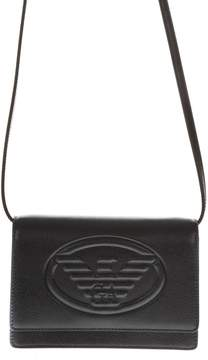 Emporio Armani Black Faux Leather Shoulder Bag