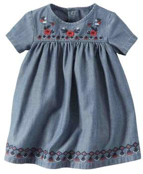 Carter's Infant Girls Blue Chambray Denim Floral Baby Dress