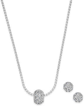 Charter Club Silver-Tone Pave Ball Pendant Necklace and Stud Earrings Set, Created for Macy's