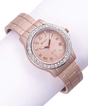Geneva Platinum Rose Gold Rhinestone Cuff Watch