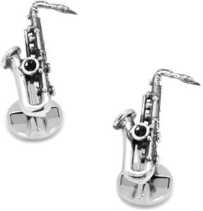 Co Ox and Bull Trading Sterling Silver Saxophone Cufflinks.