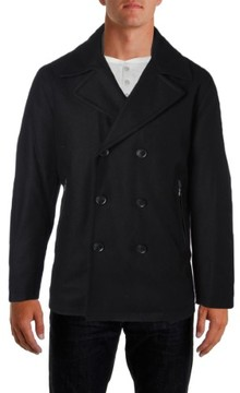 MICHAEL Michael Kors Mens Double Breasted Faux Leather Trim Pea Coat