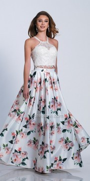 Dave and Johnny Floral Print Two Piece Halter Prom Dress
