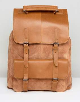 Asos Backpack In Tan Leather & Suede Mix