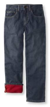 L.L. Bean Boys' Double L Straight Leg Jeans, Fleece-Lined
