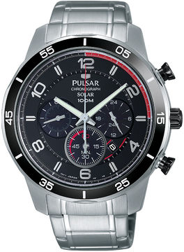 Pulsar Mens Silver Tone And Black Chronograph Bracelet Watch PX5055