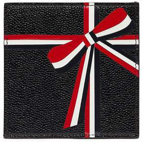 Thom Browne Ribbon patch pebble grain leather card holder