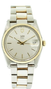 Tudor 91533 Prince Two Tone 18k Yellow Gold & Stainless Steel Silver Stick Dial 36mm Mens Watch