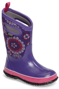 Bogs Girl's Classic Pansies Insulated Waterproof Rain Boot