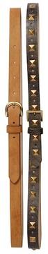 Steve Madden Studded & Solid 2-Piece Belt Set