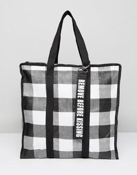 Pull&Bear Gingham Shoulder Bag