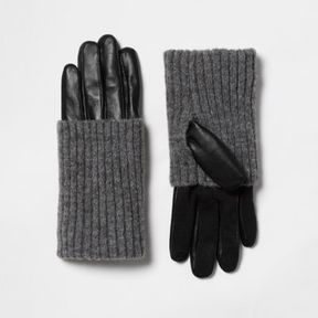 River Island Womens Black leather ribbed knit cuff gloves