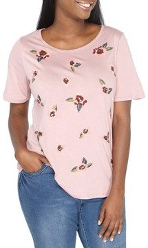 Evans Plus Size Women's Floral Embroidered Tee
