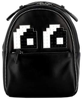 Les Petits Joueurs Women's Black Leather Backpack.