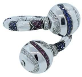 Bulgari Enigma by 18K White Gold Diamond Ruby & Sapphire Ring
