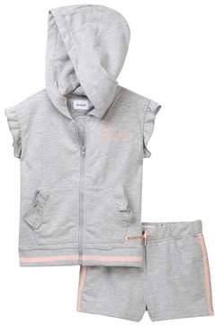 Hudson Heather Grey Short Sleeve Zip Top & Shorts Set (Toddler Girls)