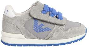 Armani Junior Logo Nylon & Suede Sneakers Running