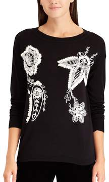 Chaps Women's Floral Embroidered Crewneck Sweater