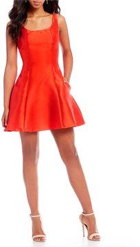 B. Darlin Satin Fit-And-Flare Dress