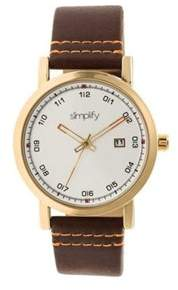 Simplify Unisex The 5300 Leather Band Watch.