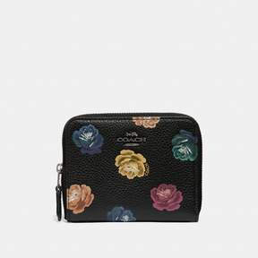 Coach Small Zip Around Wallet With Rainbow Rose Print