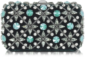 Rodo Emerald Green Velvet Tresor Clutch w/Crystals