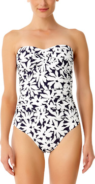 Anne Cole Black & White Floral Shirred Twist-Front One-Piece