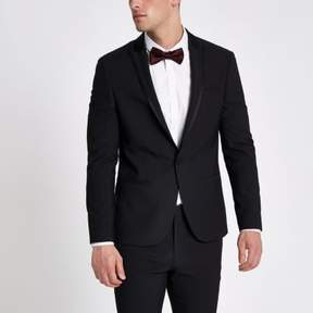 River Island Mens Black satin lapel skinny fit suit jacket