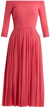 Alexander McQueen Off-the-shoulder ribbed-knit midi dress