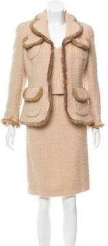 Edward Achour Mink-Trimmed Wool Skirt Set