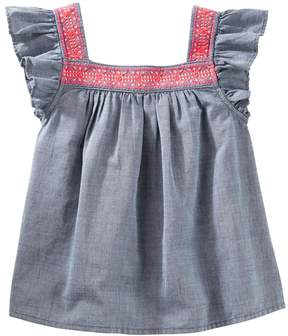Osh Kosh Girls 4-14 Flutter Sleeve Chambray Top