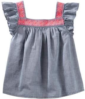 Osh Kosh Girls 4-14 Flutter Sleeve Chambray Top