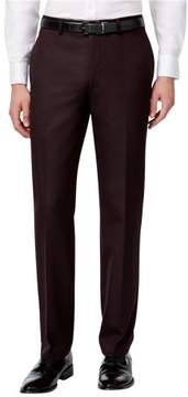 Calvin Klein Mens Flat Front Slim Fit Textured Dress Slacks Purple 30x32