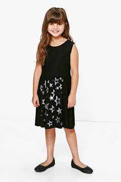 boohoo Girls Star Print Glitter Dress