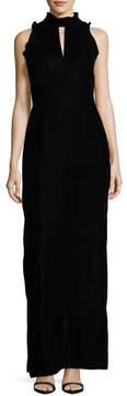 Shoshanna Alyssa Sleeveless Mock-Neck Velvet Evening Gown