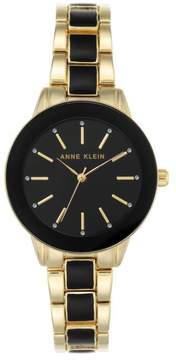 Anne Klein Goldtone Glossy Black Dial Bracelet Watch